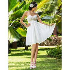 A-line Sweetheart Knee-length Chiffon Wedding Dress – USD $ 119.99
