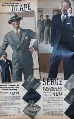 1937 Serge Suit colors and patterns - 1930s men's clothing and fashion.