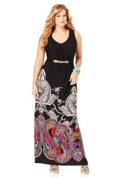 Plus Size Belted Paisley Border Maxi Dress | Plus Size View All Dresses & Skirts | Avenue