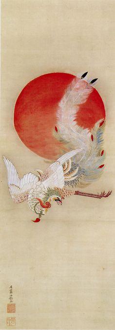 Ito Jakuchu (Japanese: 1716-1800) - Phoenix and Sun