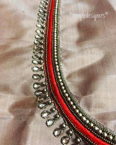 Photo by Temple Designers➡️Shruthi Gopu on January Pattu Saree Blouse Designs, Blouse Designs Silk, Designer Blouse Patterns, Bridal Blouse Designs, Neckline Designs, Dress Neck Designs, Designs For Dresses, Sleeve Designs, Hand Work Blouse Design