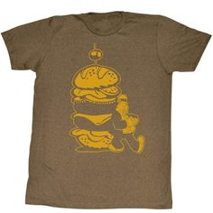 0048fa6f8 Popeye-burger for the boy-mocha heather adult s s tshirt-s
