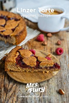 Linzer Torte Rezept - vegan & gesund backen - Mrs Flury Linzer Torte, Sweet Bakery, Healthy Baking, Vegan Recipes, Clean Eating, Sweets, Meals, Breakfast, Torte Recipe