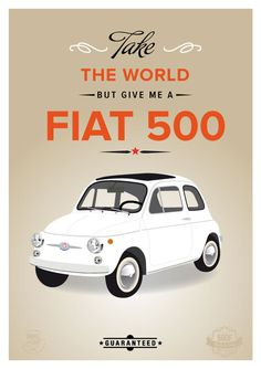 Retro Fiat 500 cinquecento art print wall decor by ShufflePrints