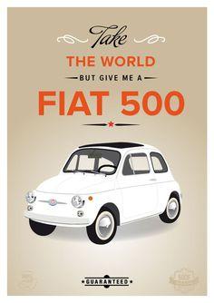 Retro Fiat 500 cinquecento art print wall decor by ShufflePrints