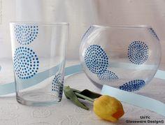 Vaso y portavelas diseño G2 azules. www.unycgd.wordpress.com Encargos en: unycgd@gmail.com