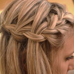 Waterfall braid -- this is pretty! Maybe with a white flower or other hair accessory (not a veil)