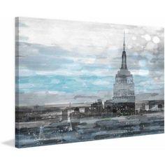 Parvez Taj Blue City Hues Print on Canvas, Size: 45 inch x 30 inch, Multicolor