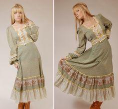 Beautiful pale green gunne sax, vintage prairie dress, gunnie, jessica McClintock