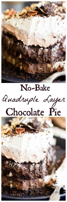 Four layers of chocolate sinfulness in this pie, but it's no-bake and quick-prep! Perfect for summertime! #LatteMadeEasy #ad @Walmart
