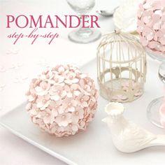 DIY hydrangea pomander made from paper and styrofoam.