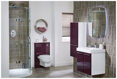 Contemporary plum bathroom furniture from Utopia Bathrooms. Plum Bathroom, Dark Bathrooms, Bathroom Inspo, Beautiful Bathrooms, Ideal Home Magazine, Fitted Bathroom Furniture, Toilet Room, Contemporary Bathroom Designs, Modular Furniture