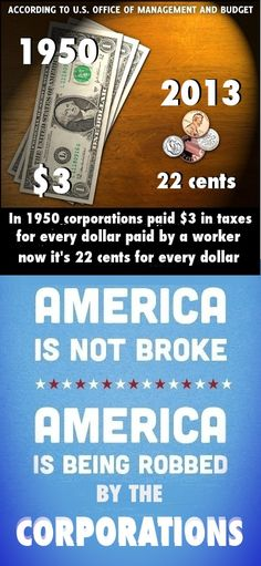 Read this carefully, it is true.    As corporations have bought more and more control of congress over the last 60 years they have had tax loopholes and offshore banking laws put in place to reduce their tax contribution to near zero.