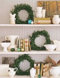 Christmas Styling | Christmas bookshelf Display with Wreaths and Glass Baubles