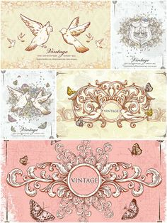 Vintage frames with doves card set vector | CGIspread | Free download