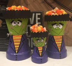Little Frankensteins #claypotcrafts #madebyshannon #halloween #terracottacrafts #paintingfun #candy