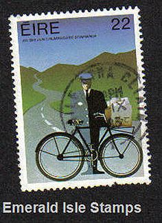 Ireland 1983 Postman on Bicycle Used (Scan shown is sample) Date of Issue 1983 Design Robert Ballagh Irish Art, Emerald Isle, Military History, Famous Artists, Ireland, Stamps, Bicycle, Fine Art, Design
