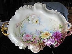 Antique Pouyat French Limoges Porcelain Tray C1899. c:1899. Artist signed, Anna K. Stiotel