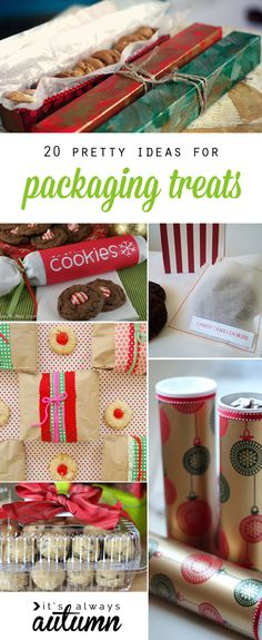 great roundup of DIY treat packaging ideas. Good ideas for packaging up cookies, cupcakes, candy and more for Christmas & holiday gifts.