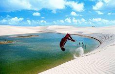 Lençóis Maranhenses, Brazil: a curious case of desert and lagoons Lençóis Maranhenses National Park, Places To Travel, Places To Visit, Desert Pictures, Visit Brazil, Fun Deserts, South America Travel, The Dunes, Dream Vacations