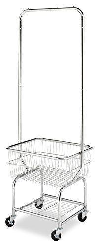 Commercial Laundry Butler Cart Clothes Basket Storage Hanging Bar
