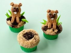 gopher and hole cupcakes for Dad