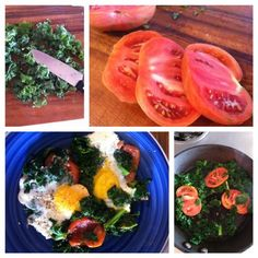 Just Got Laid Eggs Over Kale - Amazing Breakfast! We're Kale newbies, but tried it and love it. For the recipe: www.facebook.com/OurRiverRoots