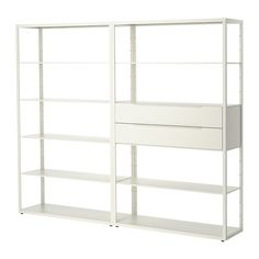 FJÄLKINGE Shelving unit with drawers, white white 92 7/8x76