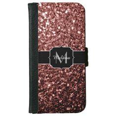 Glam Marsala Brown-Red Glitter sparkles Monogram iPhone 6 Wallet Case by #PLdesign #Marsala #MarsalaSparkles #SparklesCase