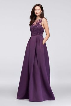 An elegant illusion bodice is topped with floral appliques on this floor-length, structured faille bridesmaid dress. A keyhole back and side pockets are thoughtful finishing touches. From Oleg Cassini Davids Bridal Bridesmaid Dresses, Bridesmaid Dress Styles, Prom Dresses, Bride Dresses, Bridesmaids, Wedding Dresses, Maid Of Honour Dresses, Illusion Dress, Groom Dress