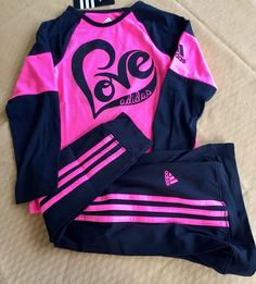 a7d6974b0269 Adidas Girls Long Sleeve Shirt  amp  Track Pants athletics Pink Black  Little Girls 6