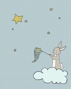 Nursery Art Bunny Star Net Bunny Art by SweetMelodyDesigns on Etsy, $10.00