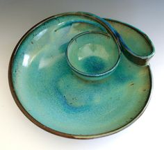 Chip and Dip handmade ceramic dish ceramics and by ocpottery, $85.00  I would love to get this as a gift, along with the teapot and mugs....