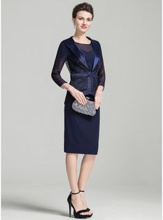 Sheath/Column Scoop Neck Knee-Length Mother of the Bride Dress With Lace (008080183) - JJsHouse