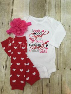 Valentine's outfit shirt headband and by PrettysBowtique on Etsy