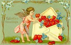 . Vintage Cards, Vintage Postcards, Vintage Images, Victorian Valentines, Vintage Valentines, Valentines For Kids, Valentine Day Crafts, Courtly Love, High Middle Ages