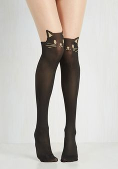 Wherefore Art Thou, Ro-meow? Tights - Black, Print with Animals, Quirky, Cats, Darling, Knit, Party, As You Wish Sale