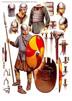 Arms and armour of a post-Carolingian cavalryman, century. Notice the lamellar armor in particular, some soldiers will wear it. Medieval Weapons, Medieval Knight, Medieval Fantasy, Armadura Medieval, Military Art, Military History, Costume Français, Costumes, Germanic Tribes