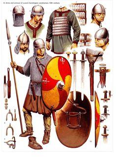 Arms and armour of a post-Carolingian cavalryman, 10th century