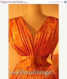 50% Winter Clearance Sale 50s Vintage Coral Orange Peach Satin Party Prom Dress  Sz M