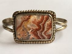 Vintage Native American Sterling Silver AGATE Petrified Wood Cuff Bracelet