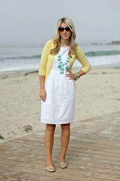 White eyelet dress, yellow cardigan, turquoise necklace - bubble necklace