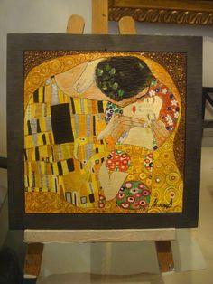 il Bacio di klimt, dipinto su ardesia cm30x30