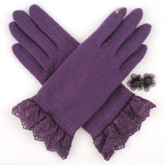 Purple Touchscreen Woolen Gloves.