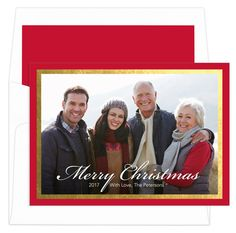 """Celebrate the season with our foil stamped Christmas photo cards featuring a gold foil frame surrounding your photograph.  Matching blank envelopes are included. Photo cards come with a fully printed card back as shown. Size of photo cards are 7"""" x 5"""".  Flat printed in ink color as shown. Printed return address available in Red flat ink. Optional envelope linings available. Typestyles and positioning only as shown."""