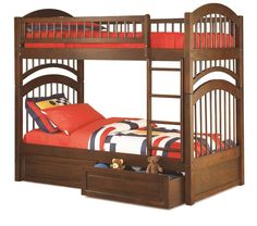 Windsor Bunk Bed Twin Over Twin 2 Raised Drawers in Antique Walnut