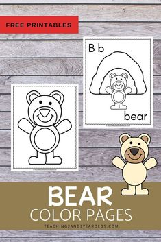 These bear theme color pages can be used at the writing table as a fun fine motor activity with toddlers and preschoolers. Bear Crafts Preschool, Free Preschool, Animal Activities, Preschool Activities, Writing Table, Fine Motor, Free Printables, Toddlers, Transitional Kindergarten