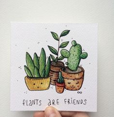 Plants are friends quot; __ another creative idea for a simple journal page that you can create quite fast with a pretty awesome result (as you can see here) Watercolor Drawing, Watercolor Illustration, Painting & Drawing, Plants Watercolor, Watercolor Pencils, Doodle Drawings, Doodle Art, Cute Drawings, Art Floral