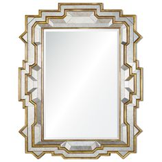 This gold leaf and antiqued mirror has a show-stopping frame, looking trendy and chic all at once.