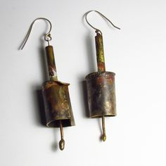 Earrings - Roxy Lentz - Repurposed silver plate, brass, raw patina. About 2 inches long.